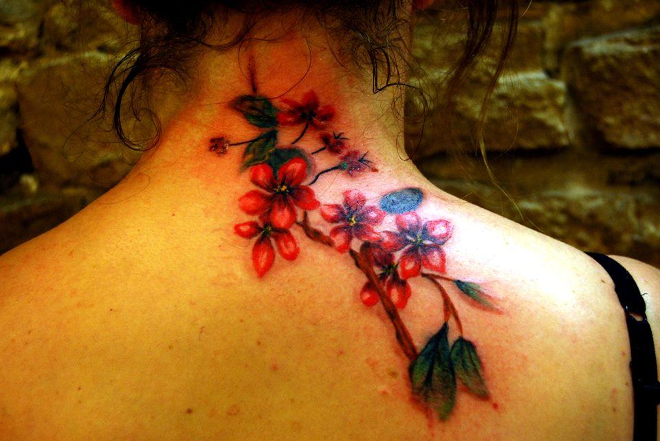 Tatouage Lyon Tatoueur Shop Pick Tattoo Fleur Cerisier Sakura